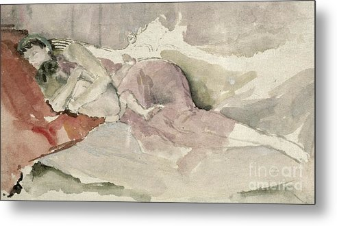 Watercolour Metal Print featuring the painting Mother And Child On A Couch by James Abbott McNeill Whistler