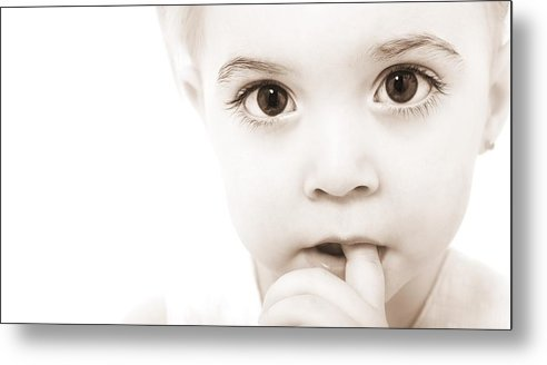 1-2 Years Metal Print featuring the photograph Portrait Of A Baby by Chris and Kate Knorr