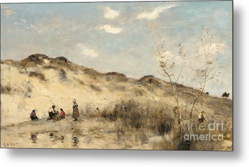 Dune; Dunes; Sand Dune; Sand Dunes; Beach; Coast; Coastal; Seaside; Barbizon; Dunkirk; Dunkerque; Landscape; France; French; Figures Metal Print featuring the painting The Dunes Of Dunkirk by Jean Baptiste Camille Corot