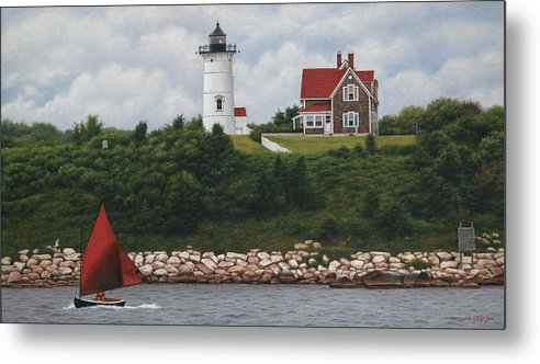 Nobska Lighthouse Metal Print featuring the painting The Red Sail Nobska Lighthouse Cape Cod by Julia O'Malley-Keyes