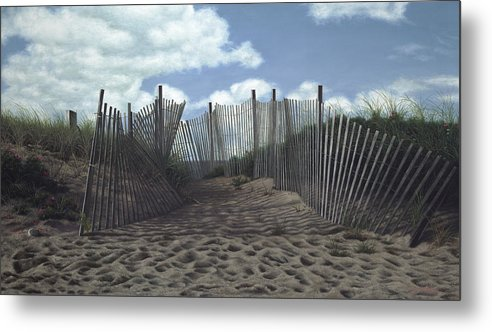 Cape Cod Metal Print featuring the painting The Snow Fence by Julia O'Malley-Keyes