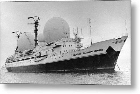 Cosmonaut Vladimir Komarov Metal Print featuring the photograph Radio Antennae On A Soviet Ship by Ria Novosti