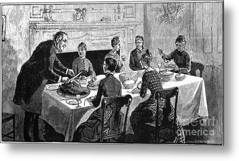 19th Century Metal Print featuring the photograph Thanksgiving, 19th Century by Granger