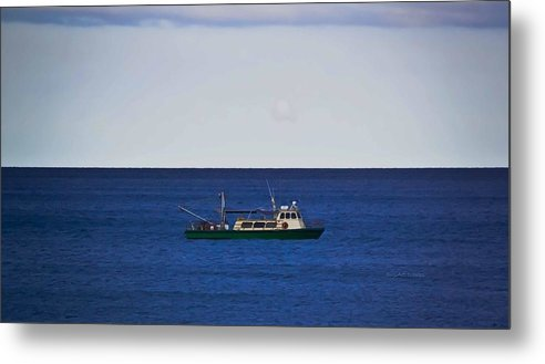 Ocean Metal Print featuring the photograph Beautiful Day For Shrimping by DigiArt Diaries by Vicky B Fuller