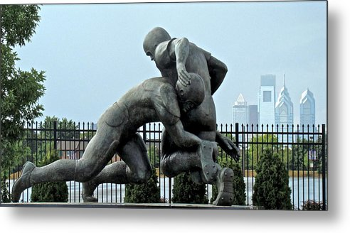 Football Statue Citizens Bank Park City View Philadelphia Metal Print featuring the photograph Football At Citizens Bank Park by Alice Gipson