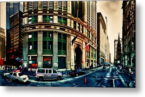 New York Metal Print featuring the digital art New York Nypd by Radu Aldea