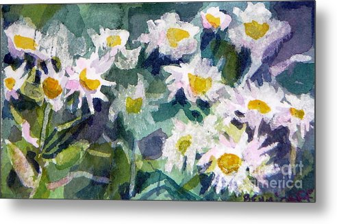 Flowers Metal Print featuring the painting Little Asters by Jan Bennicoff