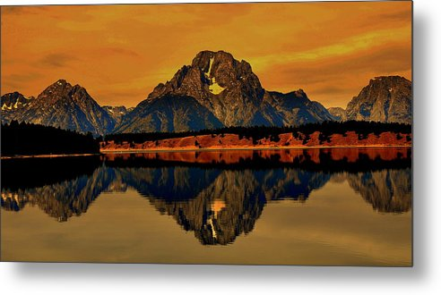 Akeview Metal Print featuring the digital art Yellowstone Park by Aron Chervin