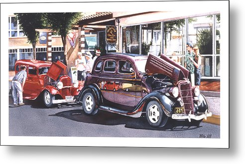 1935 Ford 1932 Car Automobile Jocks Show Cruise In Maroon Red Street Rod Hot Duece Metal Print featuring the painting Bodies And Souls by Mike Hill