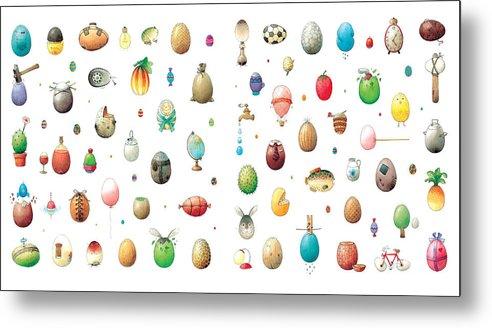 Eggs Easter Metal Print featuring the painting Eastereggs by Kestutis Kasparavicius