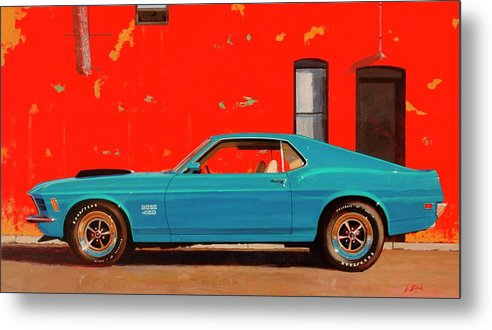 Muscle Car Metal Print featuring the painting Grabber Blue Boss by Greg Clibon