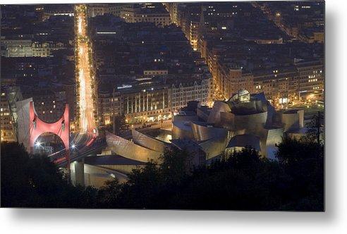 Spain Metal Print featuring the photograph Guggenheim At Night II by Rafa Rivas