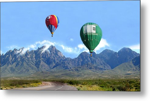 Organ Mountains-desert Peaks National Monument Metal Print featuring the photograph Hot Air Over The Organ Mountains by Jack Pumphrey