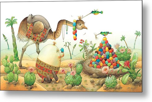 Eggs Easter Birds Metal Print featuring the painting Minieggs And Maxiegg by Kestutis Kasparavicius