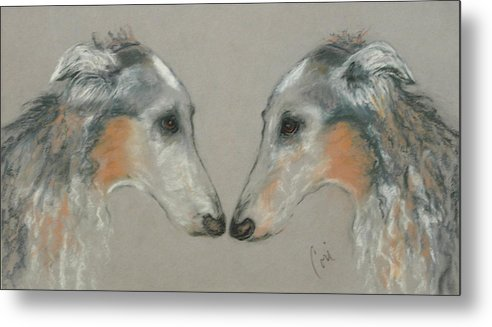Dog Metal Print featuring the drawing Nose To Nose by Cori Solomon
