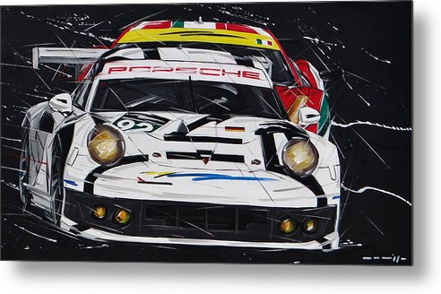 Cars Metal Print featuring the painting Porsche 911 Rsr Le Mans by Roberto Muccilo