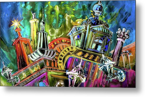 Czech Republic Metal Print featuring the painting The Magical Rooftops Of Prague 02 by Miki De Goodaboom