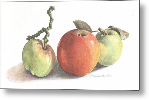 Fruit Metal Print featuring the painting Three Apples by Maureen Carter