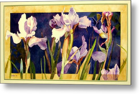 Irises Metal Print featuring the painting Three Gossips by Linda Marie Carroll