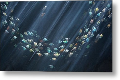 Fish Metal Print featuring the painting Turning Point by Ana Bikic