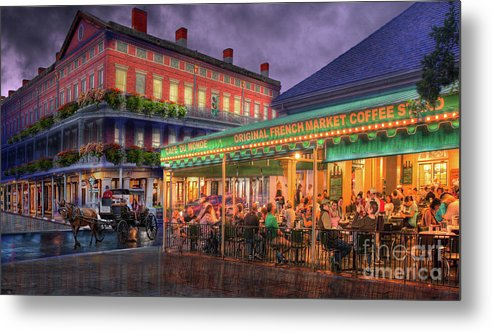 New Orleans Photography Metal Print featuring the photograph Cafe Du Monde by Alex Demyan