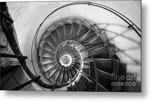 Napoleonic Metal Print featuring the photograph Lblack And White View Of Spiral Stairs Inside The Arch De Triump by PorqueNo Studios