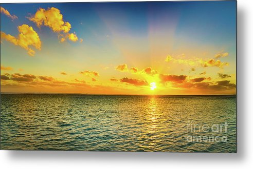 Panorama Metal Print featuring the photograph Seascape At Sunset. Panorama by MotHaiBaPhoto Prints