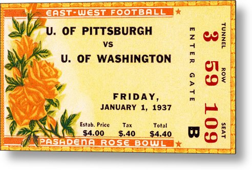 Tticket Metal Print featuring the photograph 1937 Rose Bowl Ticket by David Patterson