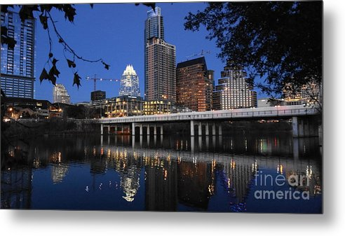 Aus Downtown Reflections Metal Print featuring the photograph Aus Downtown Reflcetions by William Bosley