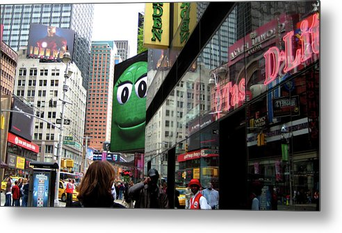 Times Square Metal Print featuring the photograph Big Green M And M by Lorraine Devon Wilke