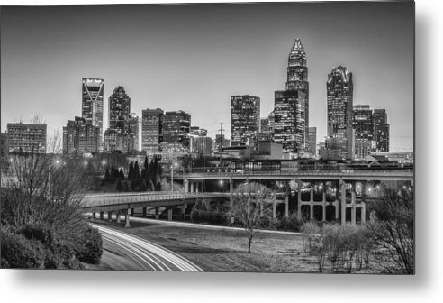 Charlotte Metal Print featuring the photograph Charlotte Sunset Black And White by Brian Young