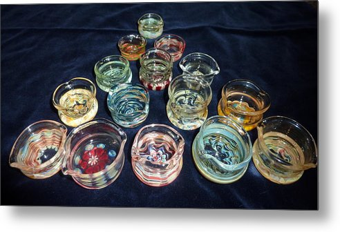 Glass Dabber Metal Print featuring the glass art Dishes by Glass Dabber