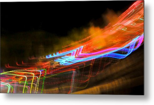 Abstract Metal Print featuring the photograph Erasing Streetlights by Michele Stoehr