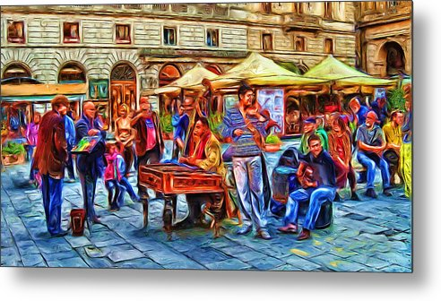 Florence Metal Print featuring the digital art Florence Street Musicians by Cary Shapiro