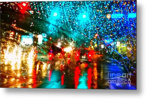 Holiday Light. Stree. Building. Landscape. Christman Light. Trees Decor. Photograph. Natural Beauty. Rose Wang Image. Metal Print featuring the photograph Holiday Lightp by Rose Wang