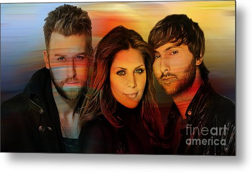 Lady Antebellum Photographs Metal Print featuring the mixed media Lady Antebellum by Marvin Blaine