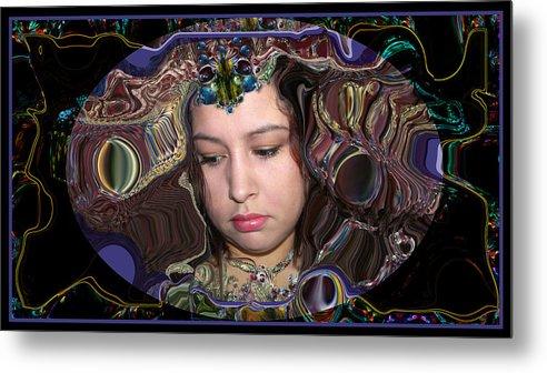 Portrait Metal Print featuring the digital art Lapislazuli Beauty by Otto Rapp