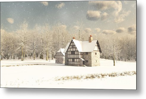 Snow Metal Print featuring the digital art Medieval Farmhouse In Winter Snow by Fairy Fantasies