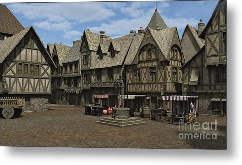 Medieval Or Fantasy Town Square And Market Place Metal Print featuring the digital art Medieval Town Square by Fairy Fantasies