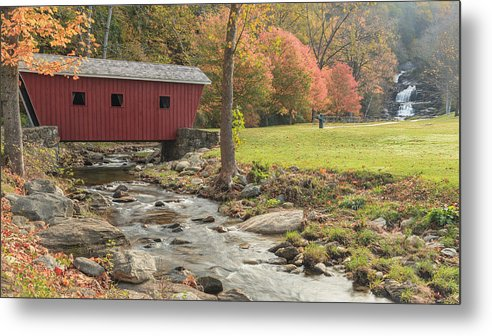 Covered Bridge Metal Print featuring the photograph Morning At The Park by Bill Wakeley