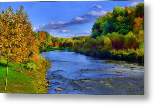Landscape Metal Print featuring the painting October On The Cuyahoga by Dennis Lundell