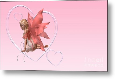 Fairy Metal Print featuring the digital art Pink Valentine Fairy - 2 by Fairy Fantasies