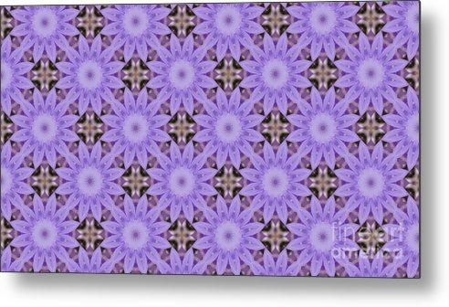 Pattern Metal Print featuring the digital art Purple Flowers by Design Windmill