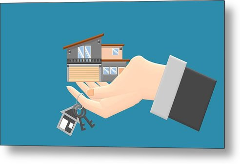 Real Estate Agent With House Model And Keys Hand Giving House Keys Isometric Design Illustration Flat Style Real Estate Agent Handing Holding In