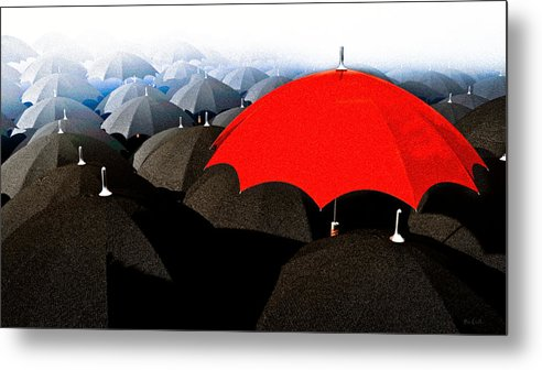 Umbrella Metal Print featuring the digital art Red Umbrella In The City by Bob Orsillo
