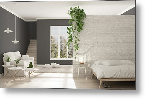 Scandinavian White And Gray Minimalist Living With Bedroom Open