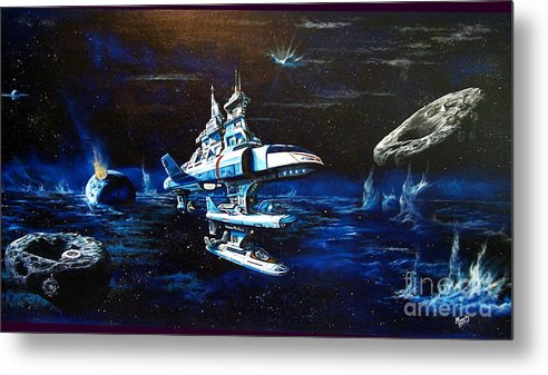 Alien Metal Print featuring the painting Stellar Cruiser by Murphy Elliott