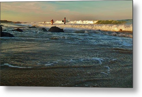 Mark Lemmon Cape Hatteras Nc The Outer Banks Photographer Subjects From Sunrise Metal Print featuring the photograph Sunset Surfer by Mark Lemmon