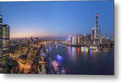 Shanghai Metal Print featuring the photograph The Blue Hour In Shanghai by Barry Chen
