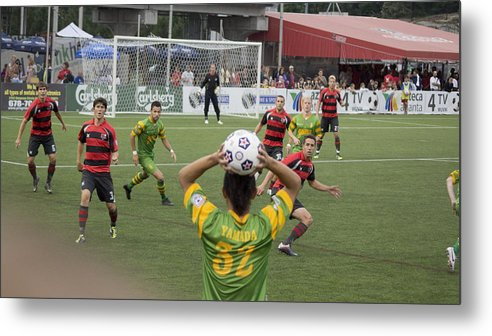 Atlanta Silverbacks Metal Print featuring the photograph Throw In by Eric Cross